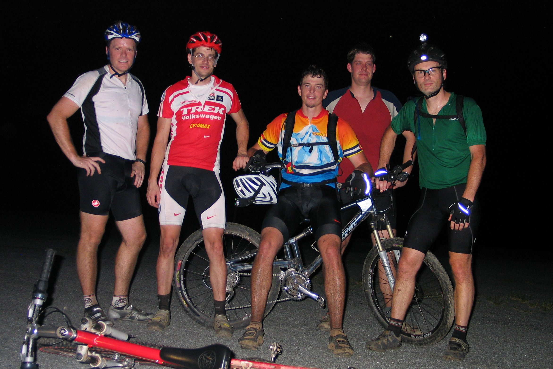 Trailwork superstars (Left to right) Ted G., Cap'n Shawn, DT, FatTireWilly, and Dr. Woton, of Team Lucky Green.